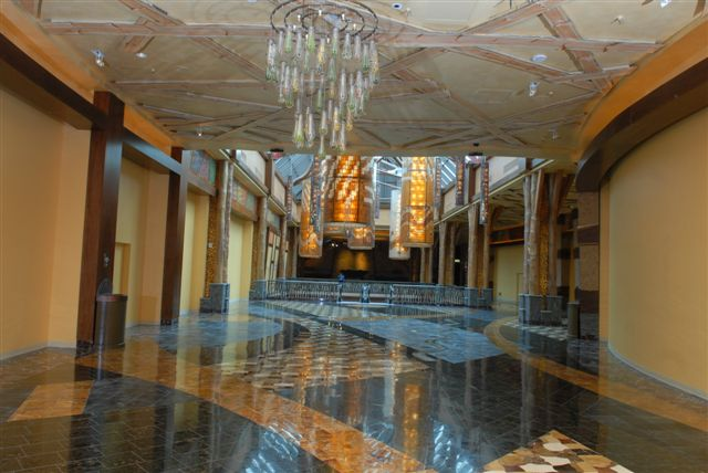Waterjet-cut stone installation at Mohegan Sun Casino, USA