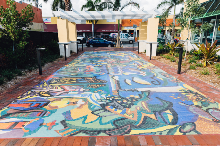 Santos Mendez's Myaamia mural at TD Bank, Little Havana, Florida