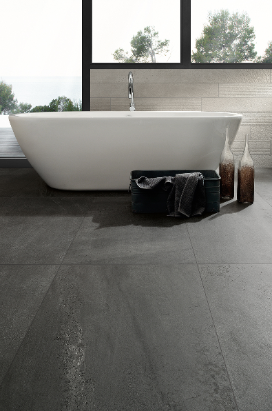 Ceramiche Coem's Brit Stone Graphite in 600 by 1,200mm and Grey decor in 150 by 900mm