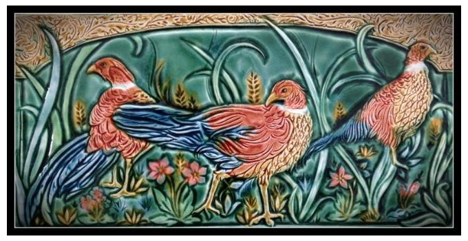 Tile panel by Mary Philpott, Verdant Tile Studio