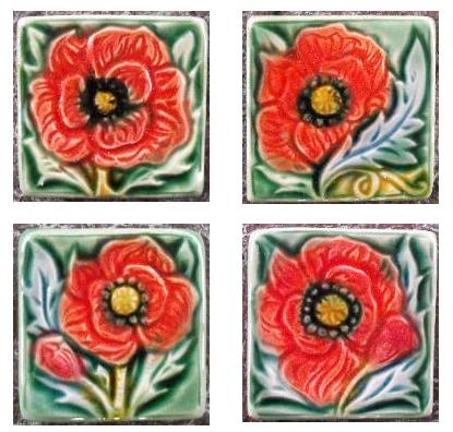Poppy tiles by Mary Philpott, Verdant Tile Studio