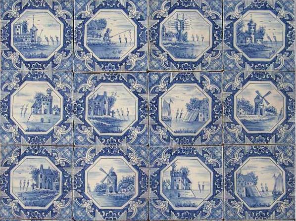 Delft tile showing Dutch landscapes by Almaviva