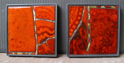 Two panels with reactive glazes and fused glass, 2011.