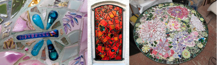Examples of O'Highway's mosaic work including Fused Glass Mayfly (left)