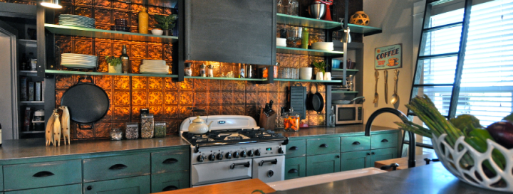 Copper tile splashback