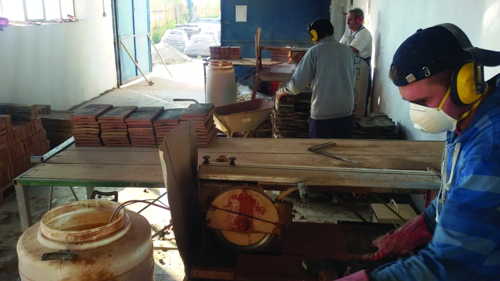 The cutting line at Terracotta Flooring