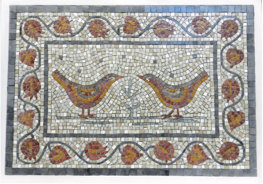 Wedding Mosaic - birds, pomegranates and leaves - by Helen Miles