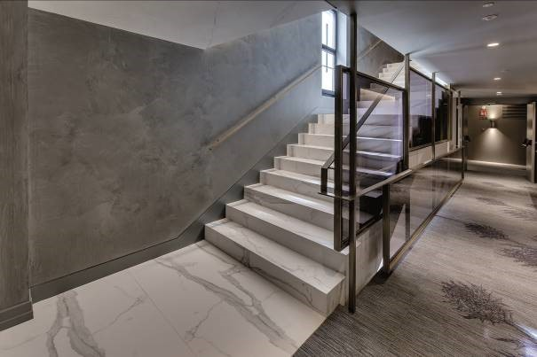 Staircase, Hotel Emperatriz, Madrid, features Neolith surface solutions