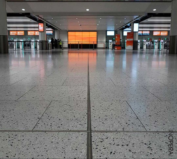 Terrazzo installation at Gatwick North by DMC Contracts using InOpera materials