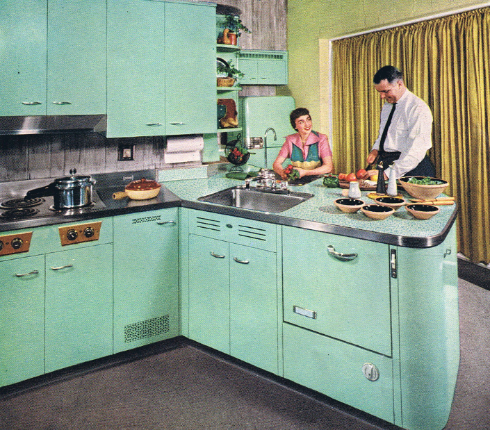 Turquoise kitchen from the 1950s