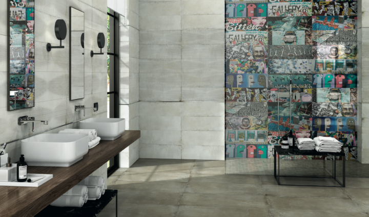 Recover Ivory Kraft Ornato and Finir Silver Lista wall tiles, with Recover Vison Natural floor tiles, by Aparici.