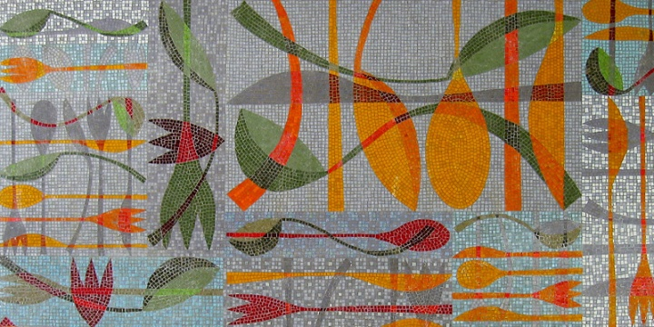 Domestic mosaic by Emma Biggs: a wall panel for a kitchen in New Jersey.