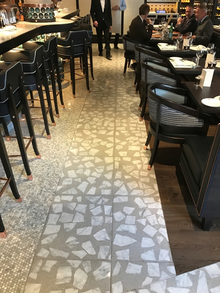 Terrazzo flooring by Quiligotti at the Margot restaurant, Covent Garden