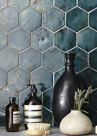 Hexagonal design from New Terracotta by Domus Tiles