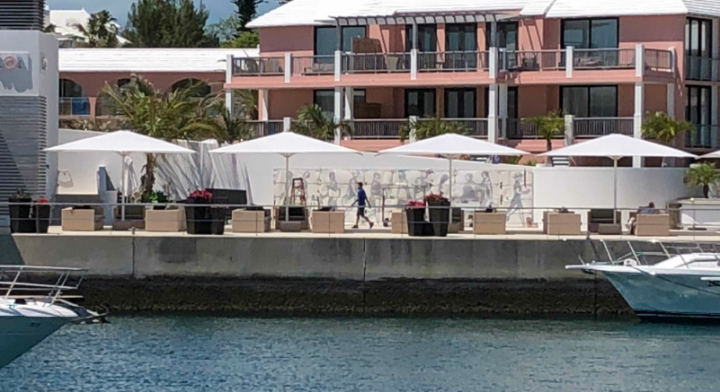 Installing the Julian Opie frieze at the Hamilton Princess Hotel & Beach Club