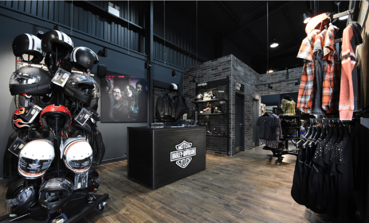 Interior of the new Harley-Davidson showroom in Manchester