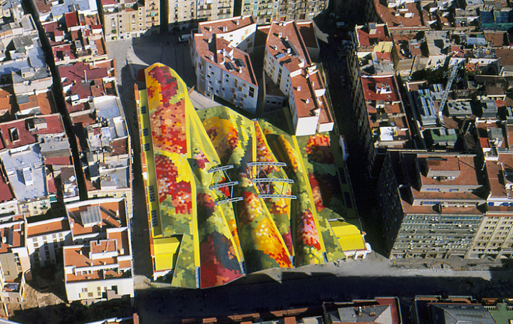 Roof of Mercat de Santa Caterina by Miralles-Tagliabue Barcelona 2004