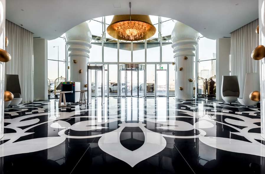 The Mondrian Doha by SWA featuring tiles by FMG Fabbrica Marmi e Graniti