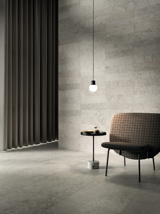 Stone Concept Argento and Slant Argento, 600 by 1,200mm, by Ceramiche Piemme