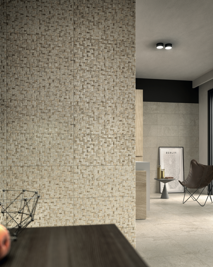 Stone Concept Sabbia, 600 by 600mm, and Weave Sabbia, 300 by 600mm, by Ceramiche Piemme