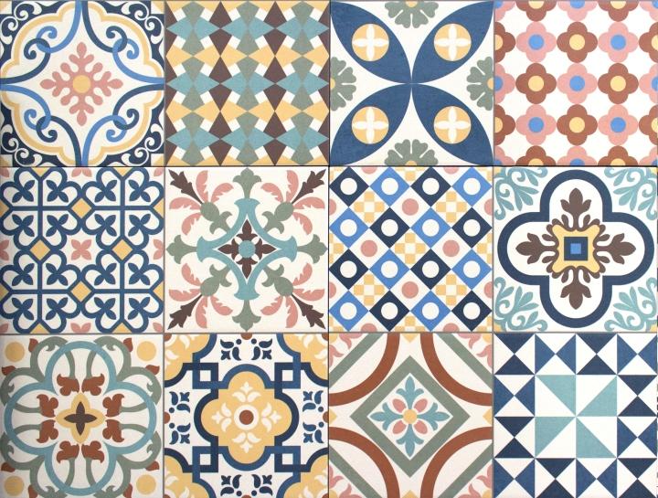 Colourful, decorative tile patchwork