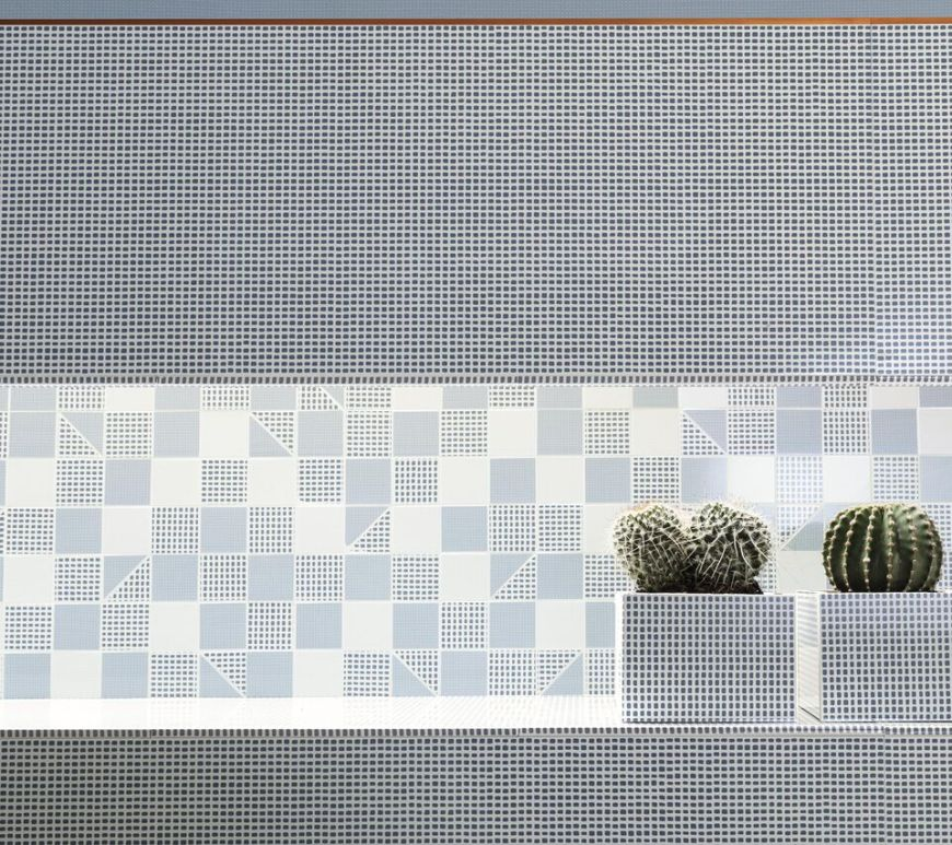 Deco Blue (305x915mm) and Slash Mosaico Sky (305x305mm) from Fap Ceramiche