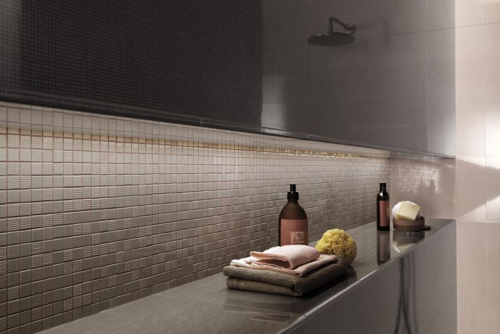 Pat Chocolate (305x915mm) and Rose Mosaico (305x305mm) from Fap Ceramiche