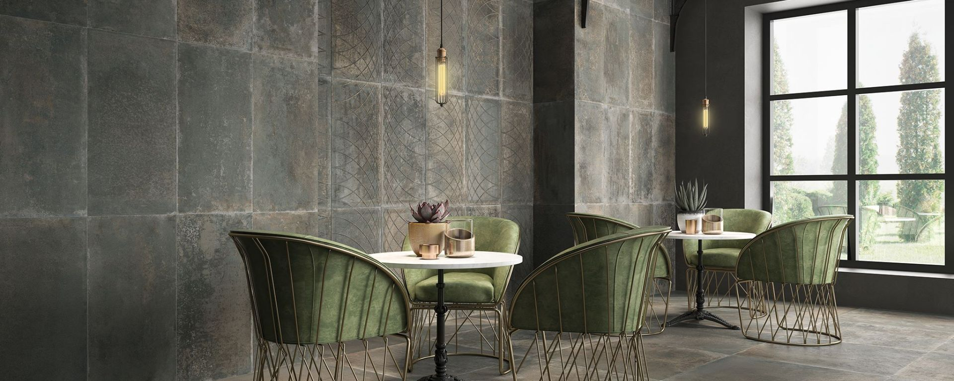 Pav. Foundry Bronce (900x900mm & 450x450mm) and Rev. Compass Bronce (450x900mm) from Saloni