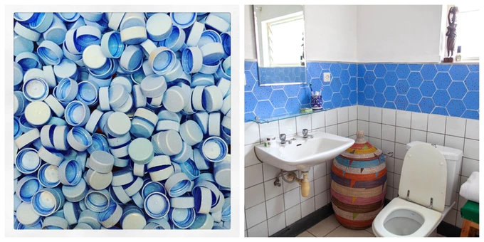 Fireball Sky Hexagonal tiles from recycled plastic tiles from Coldharbour Rwanda
