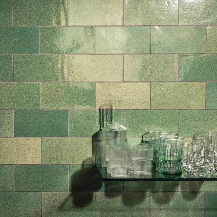 Silicastone Tints in Glazed Green from Alusid recycled tiles