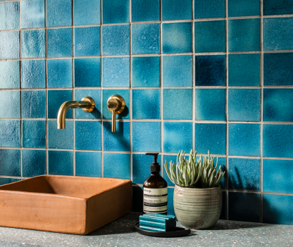Sequel Shoreditch Blue (100x100mm) Alusid Clerkenwell recycled tiles