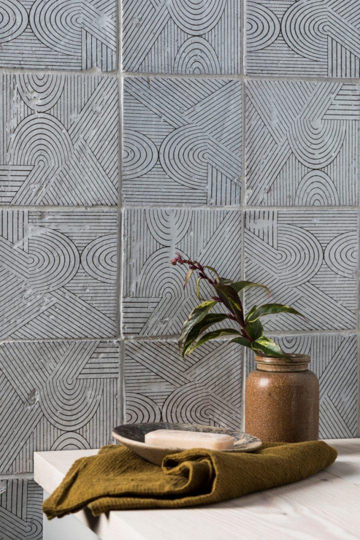 Bazaar Mondrian Mandarin Stone glazed terracotta tiles