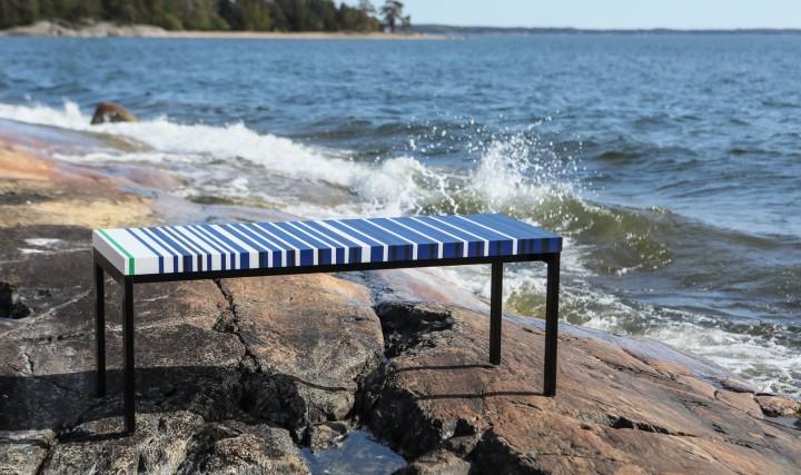 Raita bench designed by Eeva Lithovius with new colour scheme for the Baltic sea project Durat Finland design terrazzo