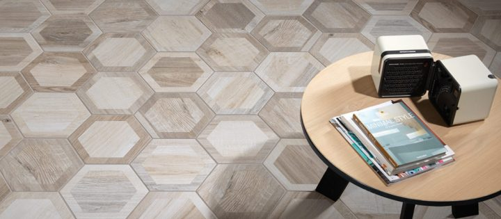 wood look porcelain Nouveau Ivory Hex Border from Nemo Tile (240mm by 277mm)