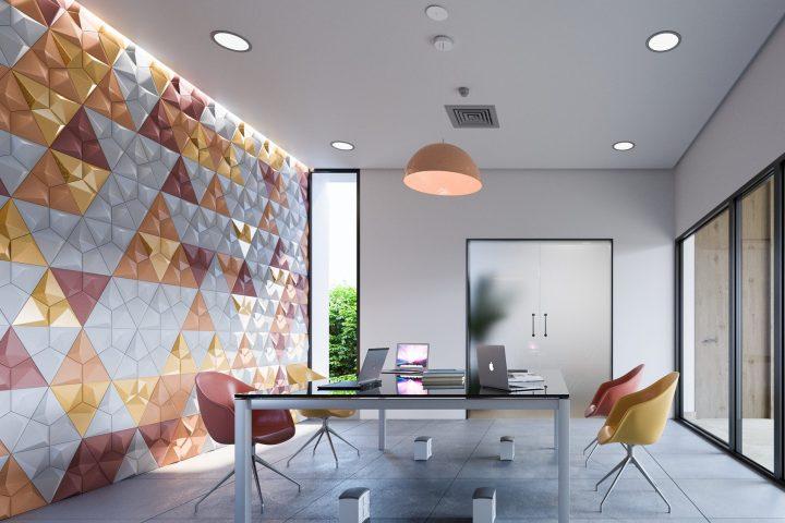 okiun 3d relief tiles geometric light play texture colour