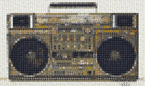 Boombox by Kay Knight keyboard mosaics recycle technology art