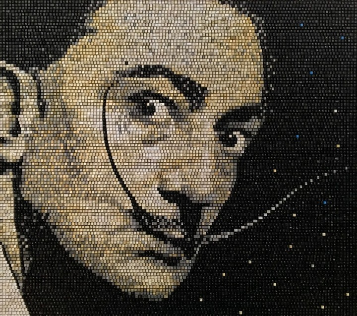 Salvador Dali by Doug Powell keyboard mosaics recycle technology art