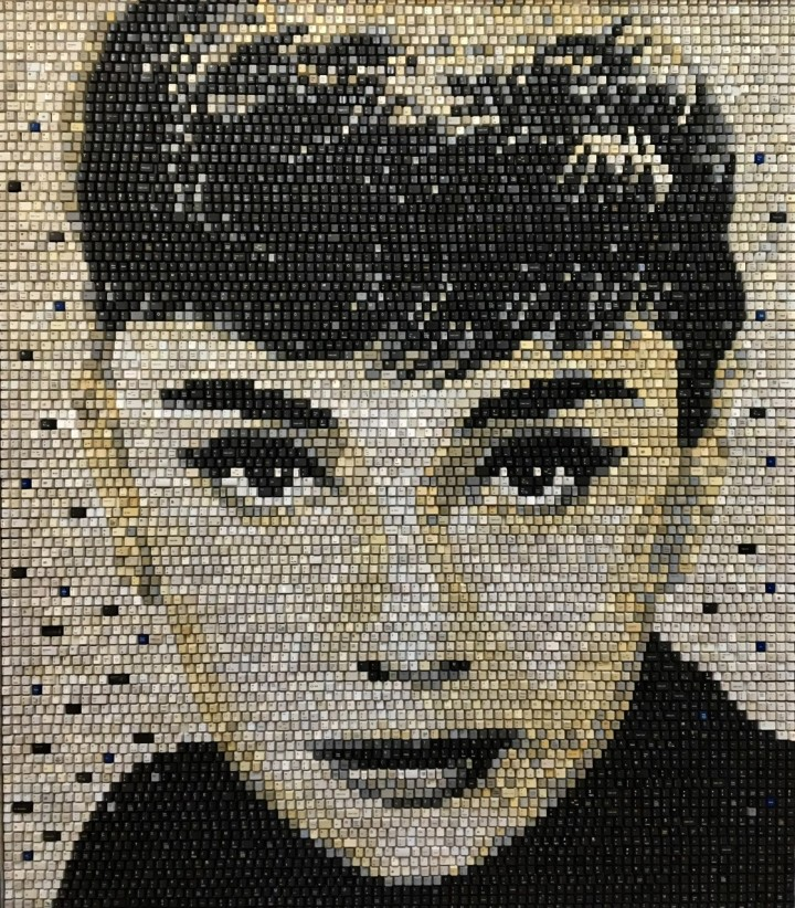 Audrey Hepburn by Doug Powell used keyboard art mosaic recycled art