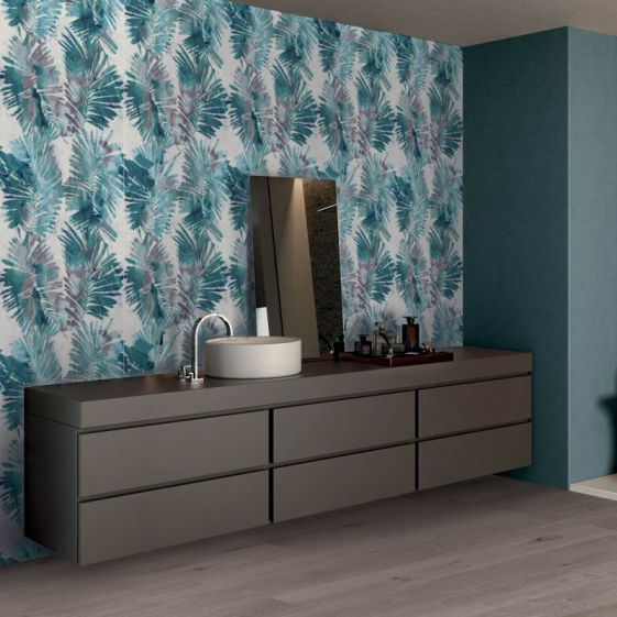 Palms Blue from Wide&Style ABK  CasaCeramica ceramic wallpaper tropicl designs