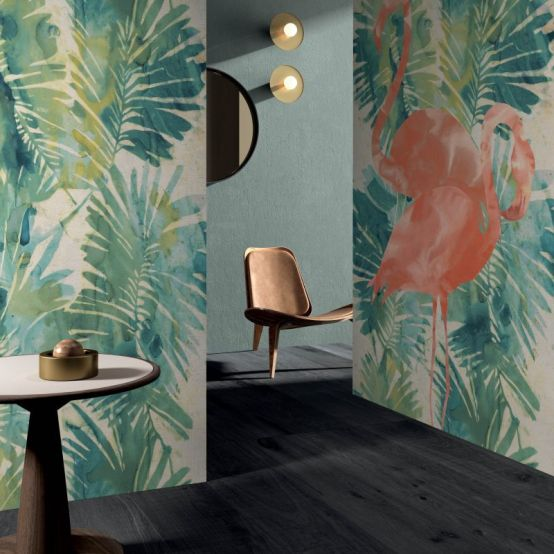 Tropical and Tropical Flamingo from Wide&Style ABK CasaCeramica ceramic wallpaper tropicl designs