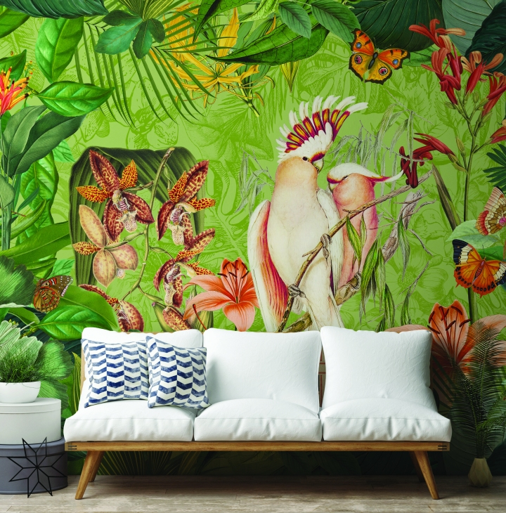 Cockatoos and Butterflies by Andrea Hasse jungle mural wallpaper wallsauce