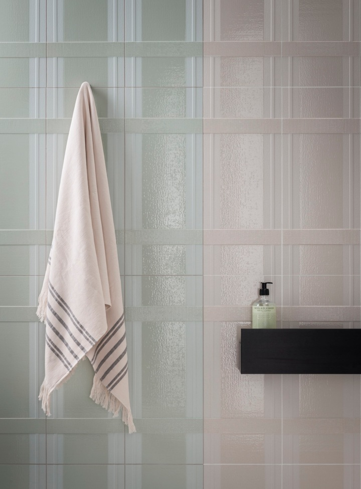 tile trend ceramics of italy Tartan Water and White from Decoratori Bassanesi (255x610mm)