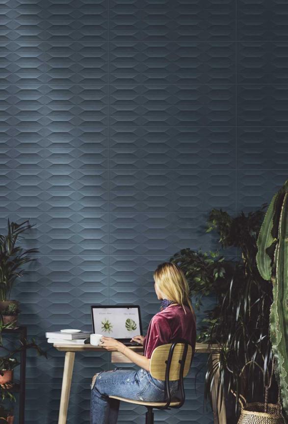 Marazzi new tile collection Colorplay Blue Struttura Cobochon (300x900mm)
