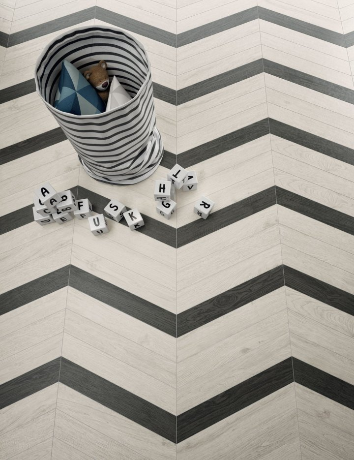 tile trends ceramics of italy Lagom Chevron Black and White (75x450mm)