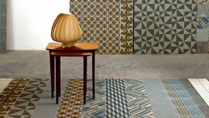 Azulej Grigio combination (200x200m) Patricia Urquiola Mutina tile collection GiraRenda, Estrela, Prata, Cubo, Diagonal, Trama, Trevo