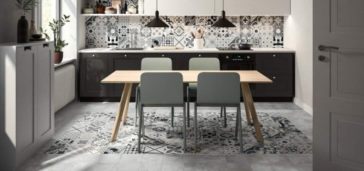 tile trends ceramics of italy Cementia Multicolour Grigia Mix and Opus Girigio from Casalgrande Padana (200x200mm)