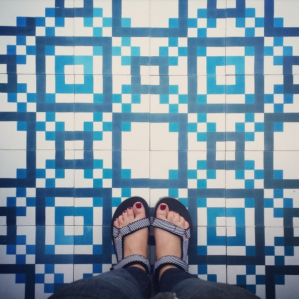 Kismet Digita in classic Moroccan blue and white Kismet cement tile design