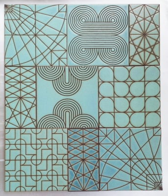 "Kismet Patchwork in Azure glaze (8""x8"") kismet tile ceramic design"