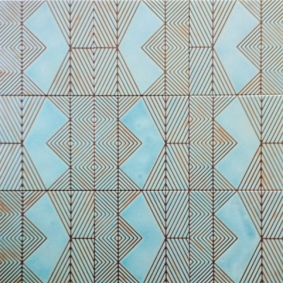 "Kismet Salome in Azure glaze (8""x8"") kismet tile ceramic design"