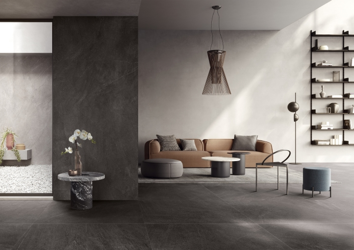 Slimtech Nextone Dark (1200x1200mm and 1200x2600mm) by Lea Ceramiche Cersaie tile collections large format marble look